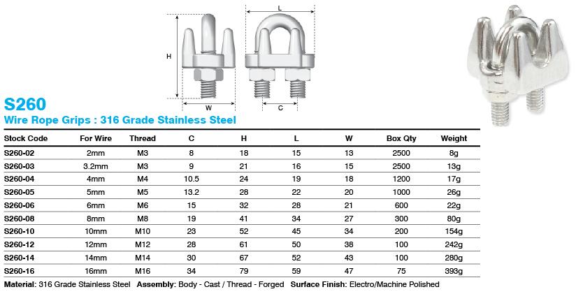 Wire Rope Grip 316 Grade Stainless Steel - Metal Hardware Supplies